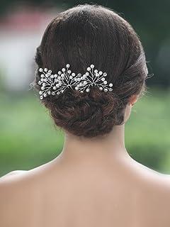 Aukmla 婚礼新娘发夹 - 女士和女孩水晶珍珠闪亮发夹 (6 支装)