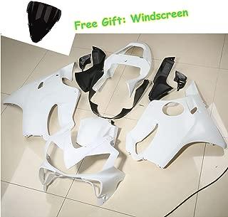 XFMT Motorcycle White Unpainted ABS Plastic Fairing Cowl Bodywork Set Compatible with Honda CBR600F4I CBR 600 F4I 2001 2002 2003