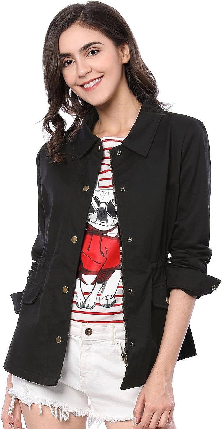 Allegra K Women's Drawstring Waist Flap Pockets Lightweight Utility Safari Jacket