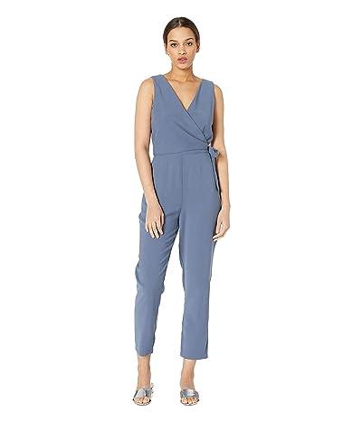 1.STATE Wrap Front Tie Waist Soft Twill Jumpsuit (Antique Blue) Women