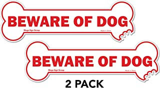 Beware of Dog 2 Pack Reflective Decal Sticker - Unique Bone Shaped Sign That Lets Others Know You Have A Dog in The Vicinity for Safety and Security