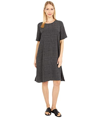 Eileen Fisher Round Neck Short Sleeve Boxy Dress (Bark) Women