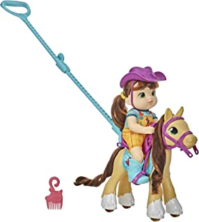 Baby Alive Littles, Lil' Pony Ride, Little Mandy Doll and Pony with Push-Stick, Accessories, Brown Hair Toy for Kids 3 Years Old and Up