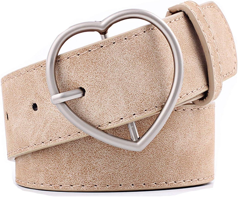 Heart Buckle Faux Leather Chic Belt Minimalist Style Belt for Ladies Girls Coat Jeans Pants(A)
