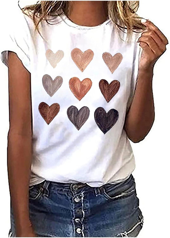 Women Crew Neck Print Casual Loose Tops Pullover Short Sleeve T-Shirt Summer Tops Tee Shirts Blouse