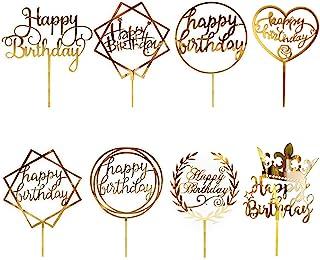 CBGGQ 8 Pcs Gold Happy Birthday Cake Topper Set, Acryl Glitter Cupcake Topper für Geburtstagspartys Dekoration, Tortenstecker für Geburtstagsdeko für Mädchen, Kinder, Hochzeit, Mutter Gold