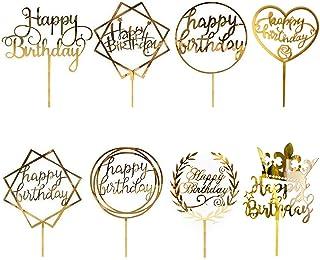 8 Pièces Happy Birthday Cake Topper, CBGGQ Décoration de Gâteaux Fête Décorations, Acrylique Paillettes Cupcake Toppers po...