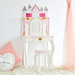 Teamson Kids Pretend Play kids Vanity Table and Chair Vanity Set with Mirror Makeup Dressing Table with Drawer Castle Play Set with Accessories for Girls Dreamland Castle Play Vanity Set White Pink