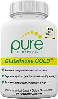 Glutathione Gold - 60 Vcaps (2 Month Supply) 200mg of S-Acetyl-Glutathione *PER Capsule* Efficient Once a Day Dosage | Patented Acetylated Form of Glutathione | Supports Antioxidant Activity