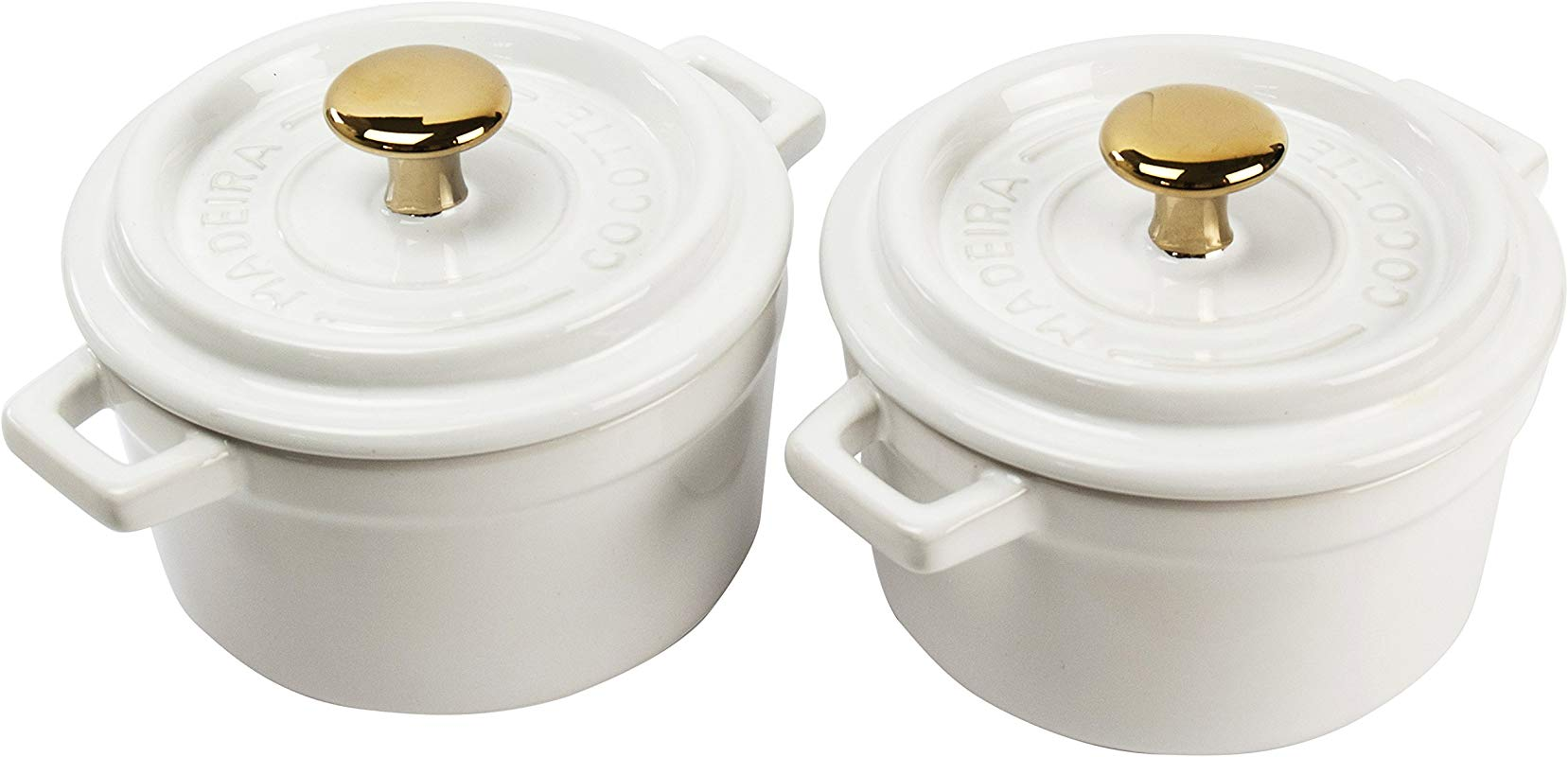 Madeira By Architec Mini Cocotte Lidded Baking Dishes Set Of 2 White Ceramic 5 Quart Each