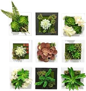 MedianField 【 ウォールグリーン 9個 セット 】 フェイクグリーン 観葉植物 造花 壁掛け 人工観葉植物 エアープランツ 室内 屋外 フレーム インテリア アンティーク 雑貨 人工 フェイク 壁掛 グリーン 緑 植物 (9個 セット)