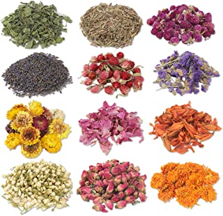 Diamos Dried Flowers, Natural Dried Flower Herbs Kit for Bath, Soap Making, Candle Making - Include Dried Lavender, Rose P...