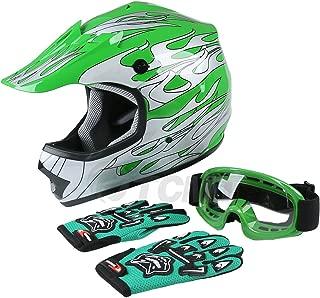 TCMT Dot Youth & Kids Motocross Offroad Street Helmet Green Flame Motorcycle Helmet Silver Dirt Bike Helmet+Goggles