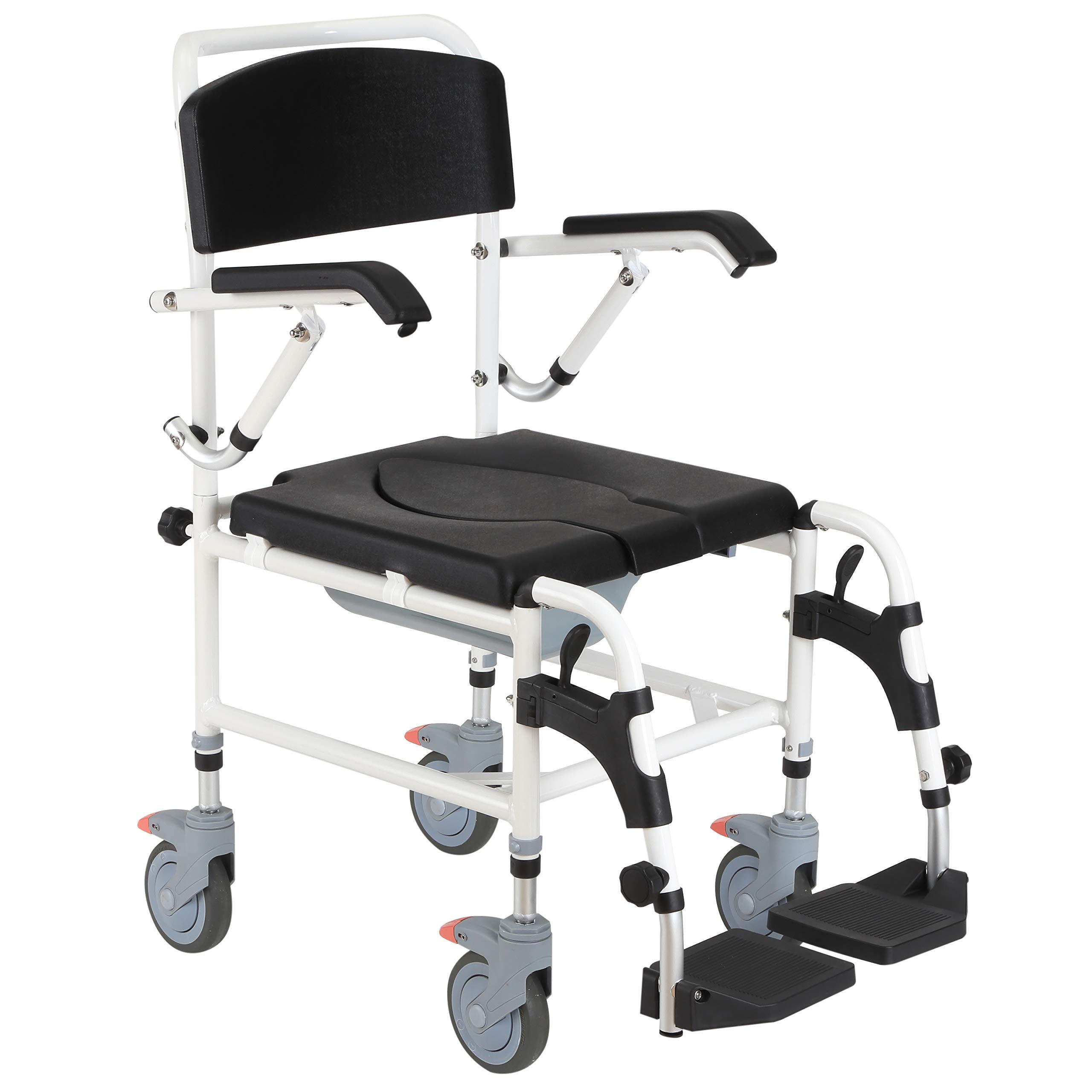 HOMCOM Bariatric Shower Commode Wheelchair