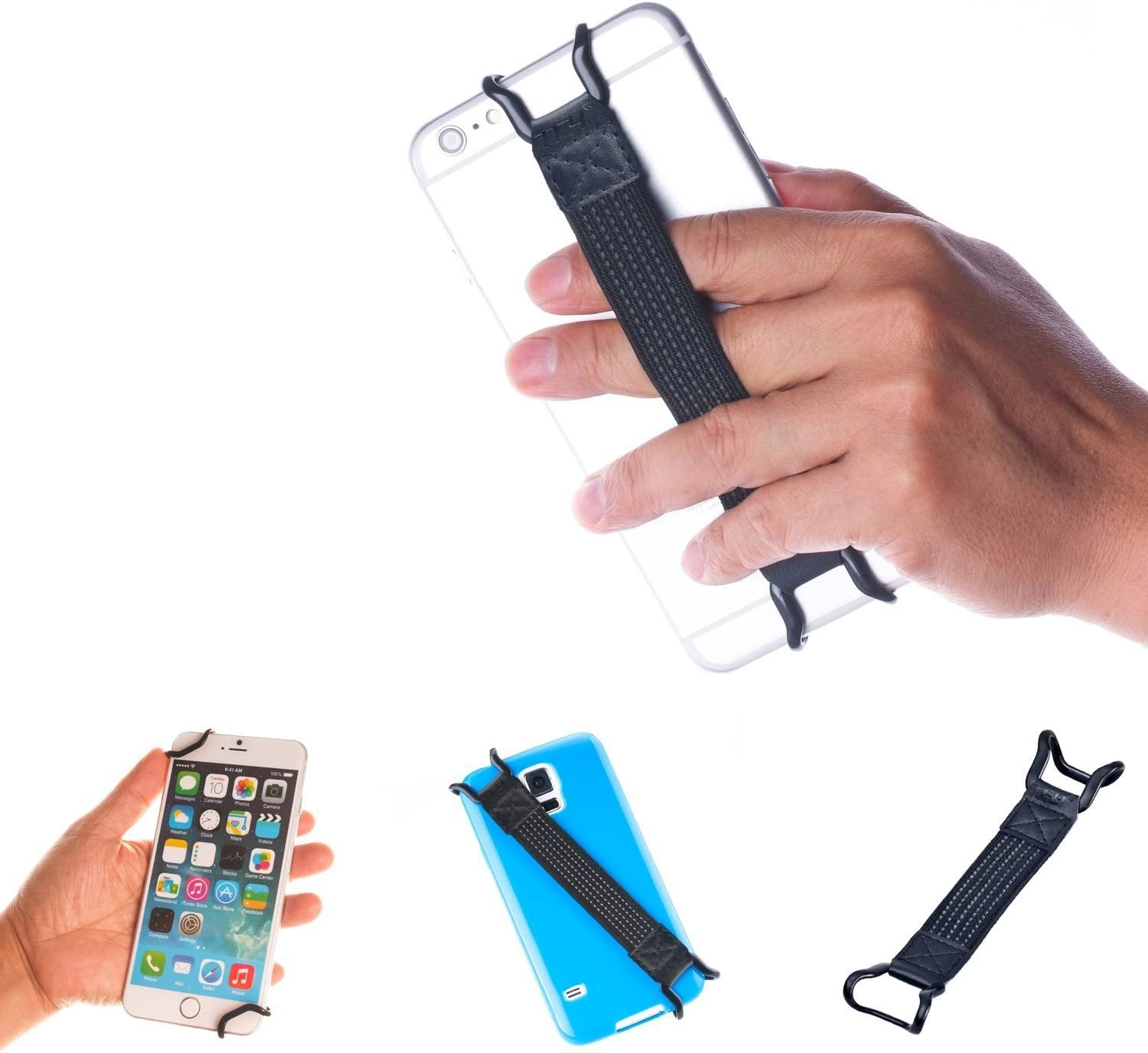 TFY Security Hand Strap Holder Compatible with iPhone 13 Pro Max /12 Pro / 11 / Xs / XR / X / 8 Plus / 7 - Galaxy S21 / S20 - Galaxy Note - Huawei Mate 20 30 40 Pro and More