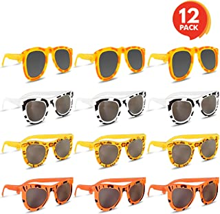 ArtCreativity Colorful Safari Sunglasses - Pack of 12 - Youth Size - Assorted Animal Prints on Good Quality Material - Summer Time Fun, Great Party Favor - Amazing Gift Idea for Boys and Girls Ages 3+