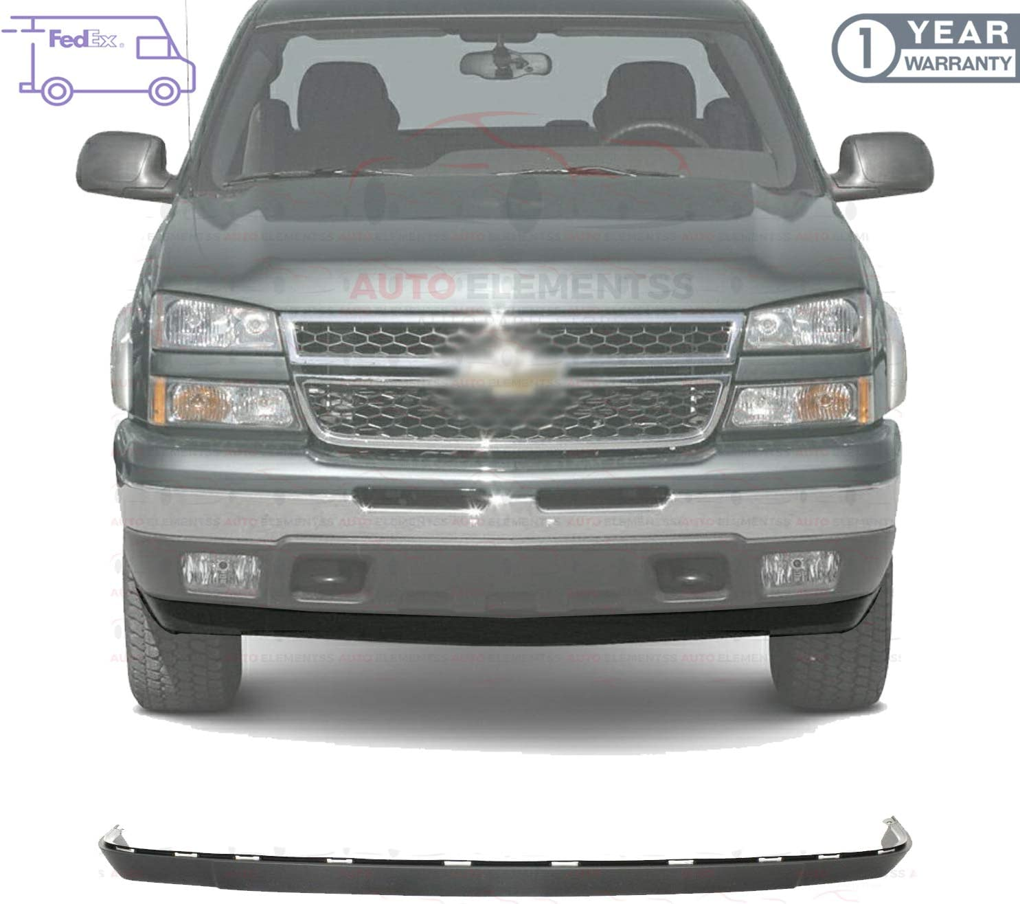 Amazon Com Autoelementss New Front Lower Valance Air Deflector Extension Textured Plastic For 2003 2006 Chevrolet Silverado 1500 2005 2006 Avalanche Direct Replacement 10386198 Automotive