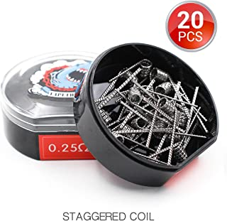 20 PCS Vapethink Staggered Coil Bobina de Vaper Wire, Resistencias Vape AWG(24GAx2)