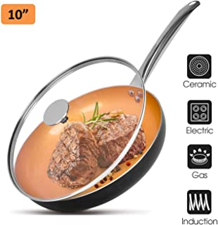 "10"" Copper Nonstick Frying Pans with Lid, Chef's Classic Skillet with 100% PFOA-Free, Saucepan Ceramic Titanium Coating with Frying Pan, Professional Round Aluminum Saute Pan for Gas, Electric Cooktop"