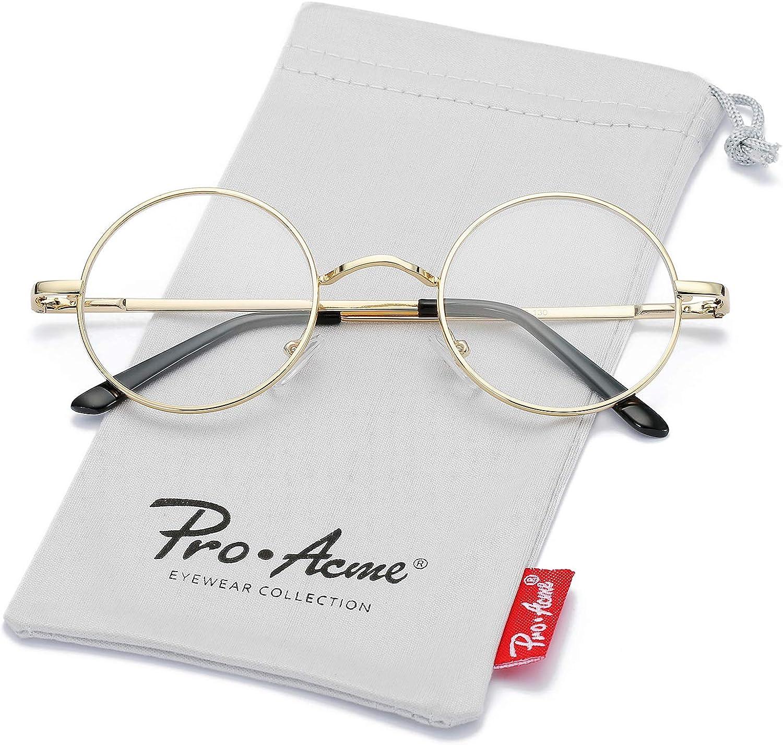 Pro Acme Non Prescription Clear Lens Glasses Retro Small Round Metal Frame