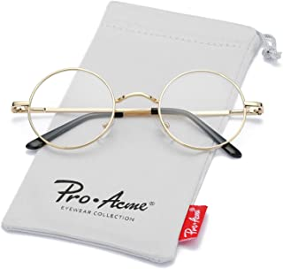 Pro Acme Non Prescription Clear Lens Glasses Retro Small Round Metal Frame