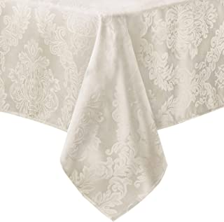 Newbridge Barcelona No-Iron Soil Resistant Fabric Damask Tablecloth - 52 X 52 Square - Antique White