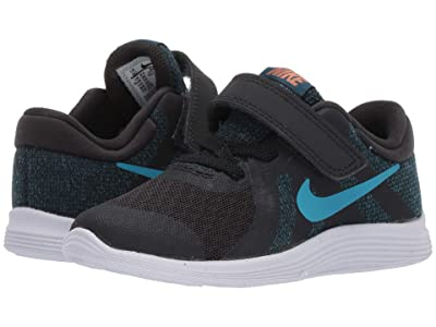 Nike Kids Revolution 4 (Infant/Toddler) (Off Noir/Light Current Blue/Blue Force) Boys Shoes
