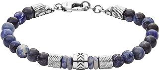 Men's Stainless Steel and Beaded Bracelet