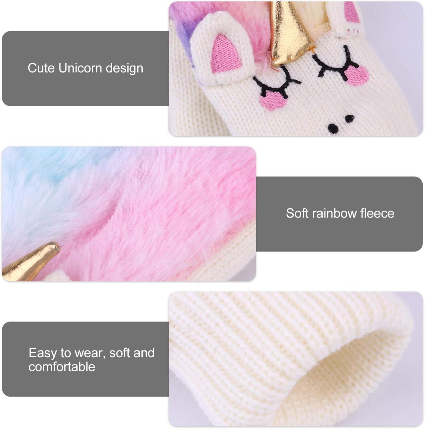 Amosfun 1 Pair Unicorn Glove Mittens Winter Warm Gloves Full Finger Gloves Cozy Knit Faux Fur Mitten Hand Warmer for Girls Women