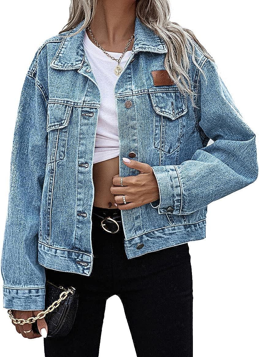 Women's Oversized Denim Jacket Long Sleeve Button Down Washed Jean Jackets