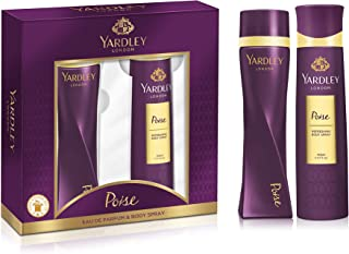 Yardley Poise perfurmed Gift set for refined woman, Oriental fragrance with sparlking and spicy notes, Eau De Parfum 100ml + Body Spray 150ml