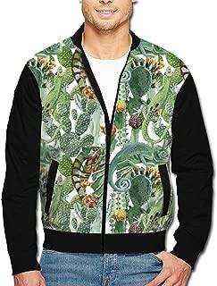 Men's Bomber Jacket Chameleon and Cactus Fashion Zip Up Aviator Jacket Coat