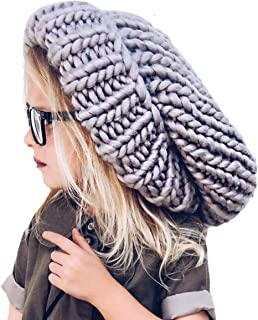 Oversize Knit Slouchy Beanie - Gray - Chunky Large Womens Girls Slouch Slouchie