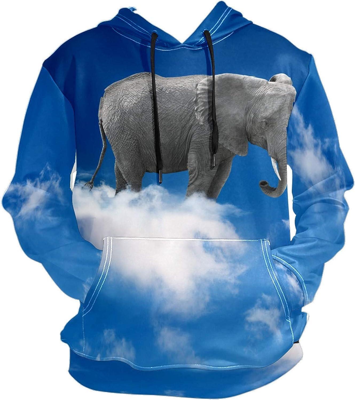 Men's Sport Hoodie Animal Elephant In Cloud Sky Big and Tall Hoodies for Men Women Oversized Hooded Sweatshirt Hip Hop Pullover Hoodie Midweight Hood for Boys Girls