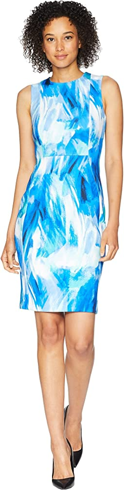 Calvin Klein Brush Stroke Print Sheath Dress