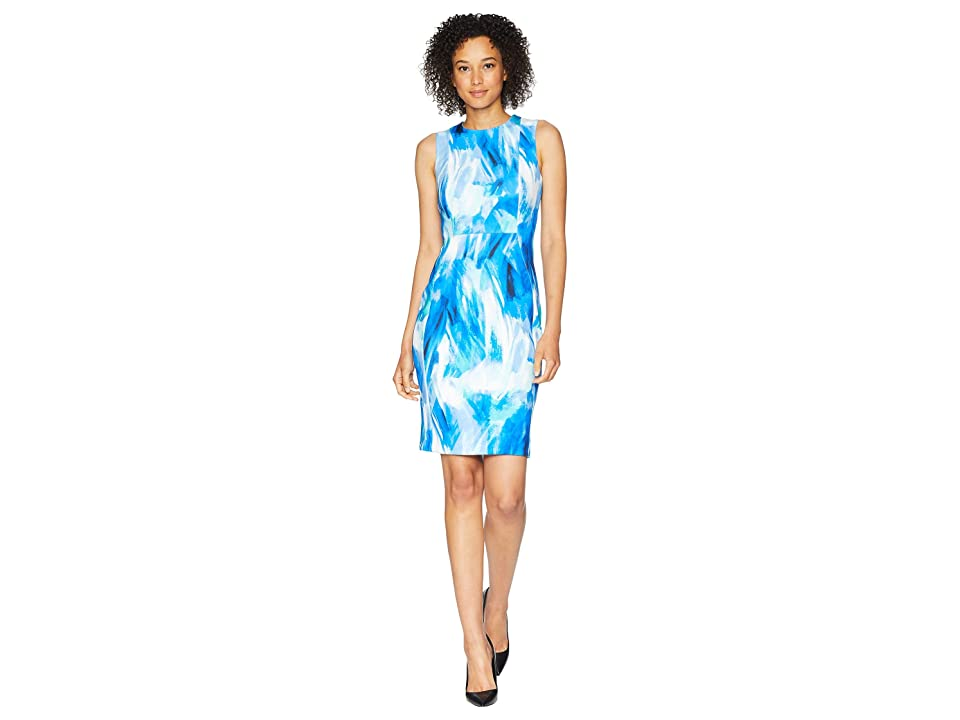 Calvin Klein Brush Stroke Print Sheath Dress (Regatta Multi) Women