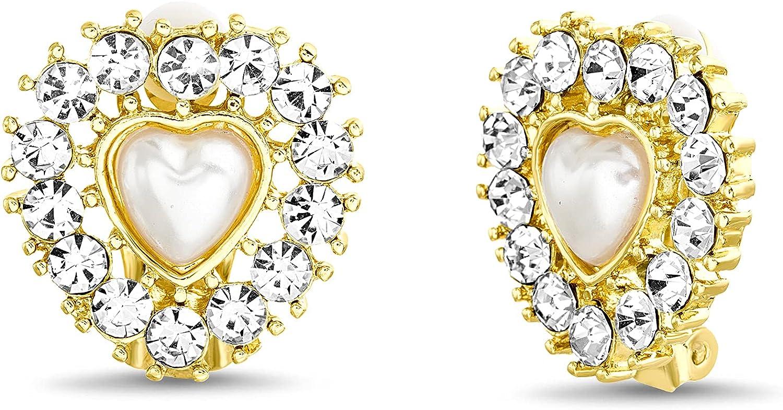 Badgley Mischka Yellow Heart Shaped Rhinestone Simulated Pearl Clip On Stud Earrings for Women