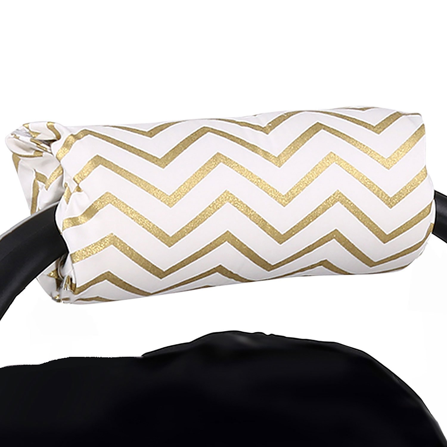 Metallic Gold Chevron Car Seat and Baby Carrier Cushion by The Peanut Shell