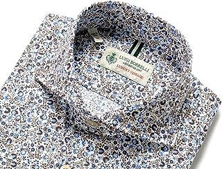 ルイジボレッリ ルイジボレリ LUIGI BORRELLI / 20SS!製品洗いコットンポプリン花柄プリントホリゾンタルカラーシャツ「NA35(9037)」 (ベージュ×ブラウン×ブルー) メンズ
