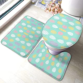 AntiskidpadQ Mat and Toilet Lid Cover, 3pc Non-Slip Bath Mat Set with Easter Eggs Spring Pastels Fabric Spring Fairy Kei Pattern Bathroom U-Shaped Contour Rug