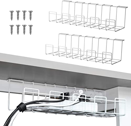 2 Packs Cable Management Tray, 16 inches Under Desk Cable Organizer for Wire Management, Metal Wire Cable Tray for De...