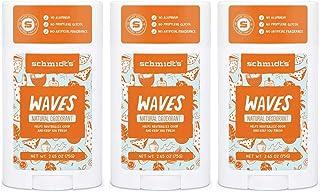 Schmidt's Waves Aluminum-Free Natural Deodorant Stick 2.65oz (3 Pack)