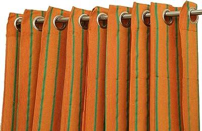 AARCTIC EXPORT Cotton Ring Window Curtain (Orange)-2 Pieces Combo