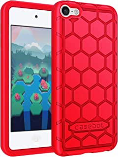 Fintie Silicone Case for iPod Touch 7 iPod Touch 6 iPod Touch 5 - (Honey Comb Series) Impact Shockproof Anti Slip Soft Protective Cover for iPod Touch 7th 6th 5th (Kids Friendly), Red