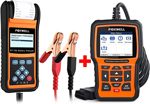 wholesale FOXWELL Car Battery Load Tester for 12V 24V Auto lowest Batteries Analyzer with Built-in Thermal Printer with Foxwell NT510 for Honda Car outlet online sale Scanner outlet online sale