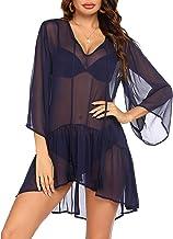 Ekouaer Women's Swimsuit Cover Ups Bikini Beachwear 3/4 Bell Sleeve Bathing Suit Beach Dress