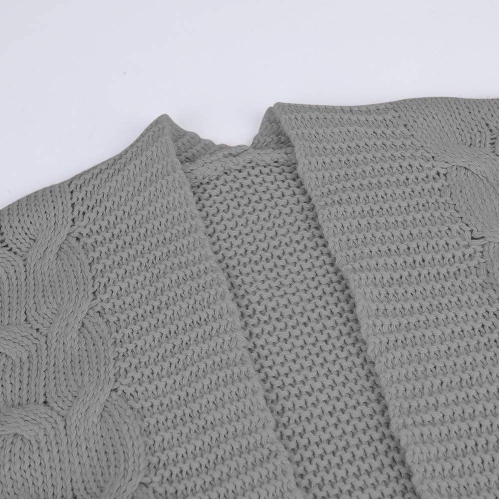 MoneRffi Damen Strickjacke Pullover Einfarbig Open Front Cardigan Langarm Fashion Cardigan Sweatjacke Tops Outwear Coat C-grau