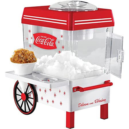 Nostalgia SCM550COKE Coca-Cola Countertop Snow Cone Maker Makes 20 Icy Treats, Includes 2 Reusable Plastic Cups & Ice Scoop – White/Red