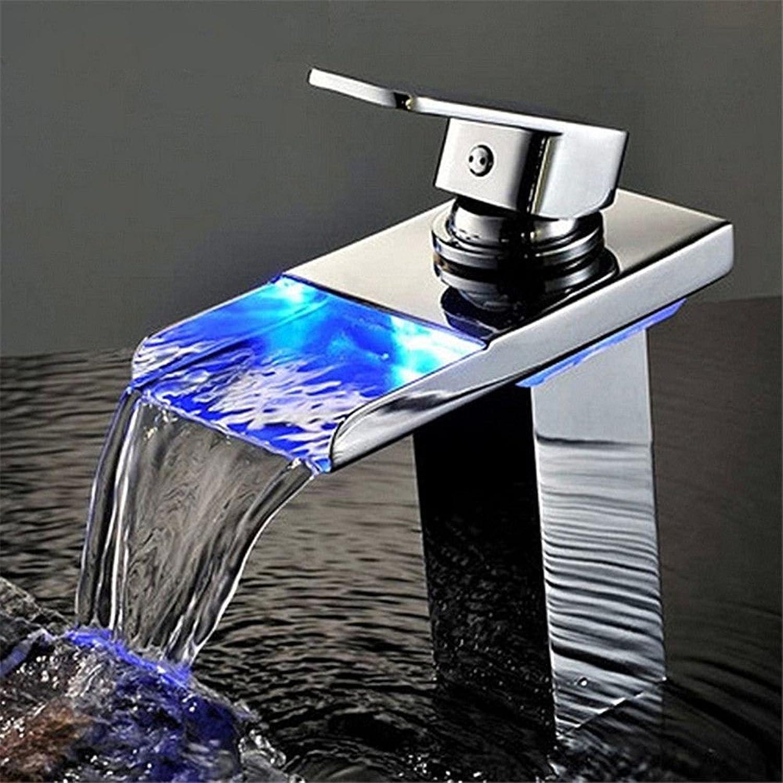 Gyps Faucet Basin Mixer Tap Waterfall Faucet Antique Bathroom Mixer Bar Mixer Shower Set Tap antique bathroom faucet Hydro Power LED faucet basin faucet temperature control color mixer single-falls ex