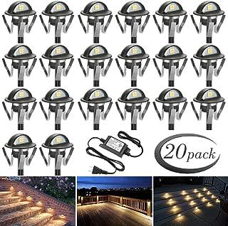 FVTLED Pack of 20 Warm White Low Voltage LED Deck lights kit Φ1.38
